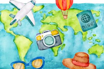 彩绘世界地图和旅行元素矢量素材