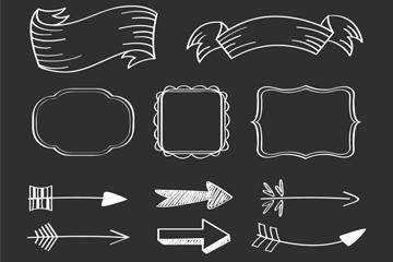 13款白色条幅框架和箭矢量素材