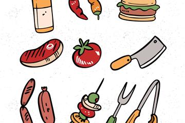 12款创意野营食物和工具矢量素材