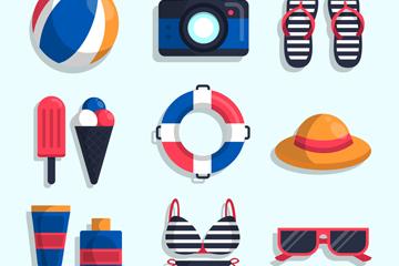 11款彩色夏季度假物品矢量素材