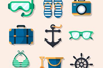 10款创意旅行物品设计矢量素材