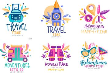 9款彩色旅行元素标志矢量素材