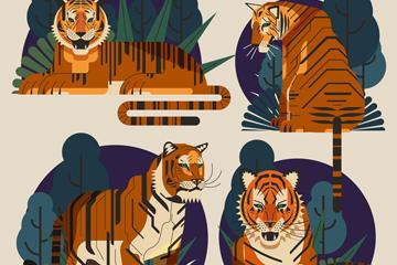 4款创意森林老虎矢量素材