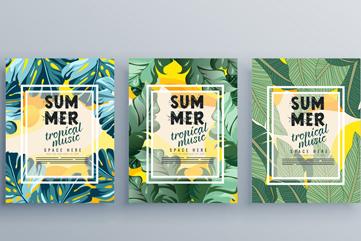 3款创意绿叶夏季热带派对海报矢