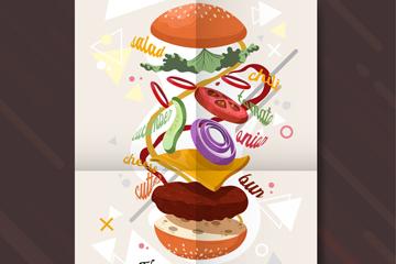 创意汉堡包招贴画矢量素材