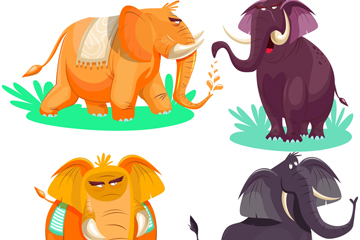 4款卡通非洲象设计矢量素材