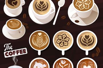 11款美味拉花咖啡矢量素材