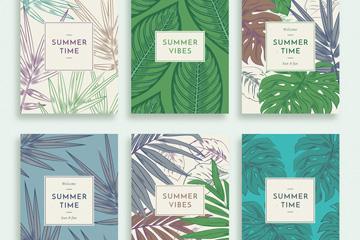 6款彩绘夏季树叶卡片矢量素材