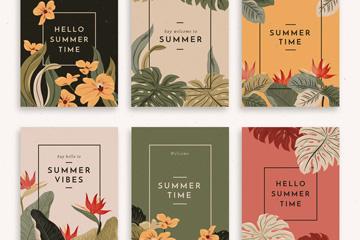 6款彩色复古夏季花草卡片矢量图