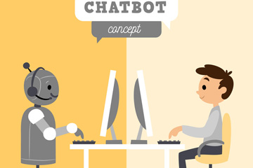 创意和机器人对话的男子矢量图
