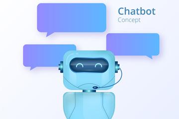蓝色聊天机器人和对话框矢量素材