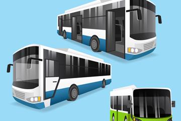 3款时尚巴士设计矢量素材
