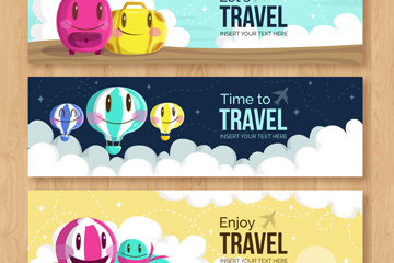3款可爱表情旅行元素banner矢量图