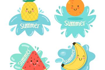 4款可爱夏季水果标签矢量素材