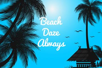 美丽沙滩椰子树风景剪影矢量素材