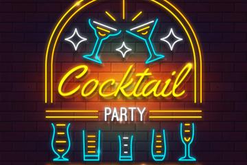 彩色鸡尾酒派对霓虹灯矢量素材