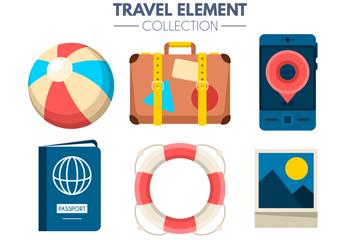 9款彩色旅行物品设计矢量素材
