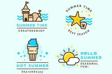 4款彩色夏季标签设计矢量素材