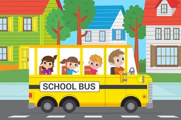 创意坐满儿童的校车矢量素材