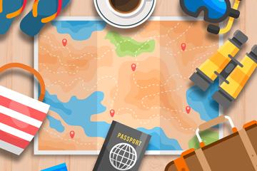 创意摆在桌面上的旅行物品矢量图