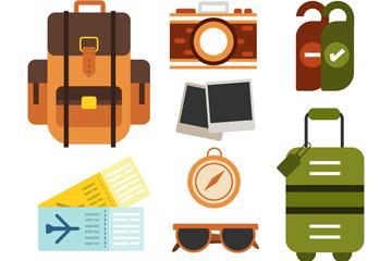 8款彩色旅行物品设计矢量素材