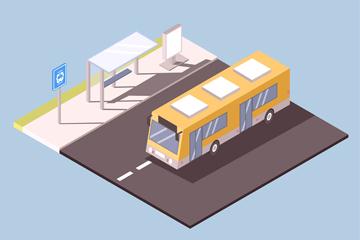 立�w公交�和候�亭矢量素材