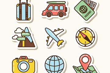 9款彩色旅行贴纸矢量素材