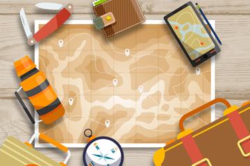 10款创意桌上旅行物品矢量图