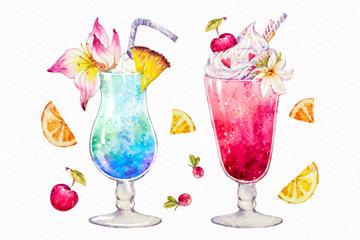 2款水彩绘夏季鸡尾酒矢量素材