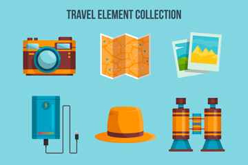 9款彩色实用旅行物品矢量素材