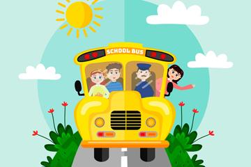 创意开在路上的校车矢量素材