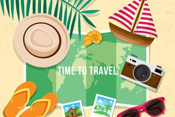7款彩色旅行物品设计矢量素材