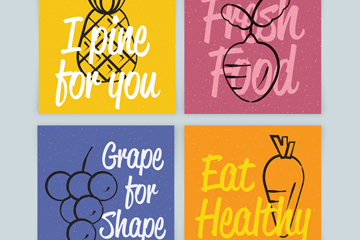 4款彩色水果蔬菜卡片矢量素材