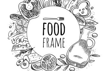 手绘食物框架设计矢量图