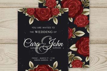 彩绘红玫瑰婚礼邀请卡矢量图