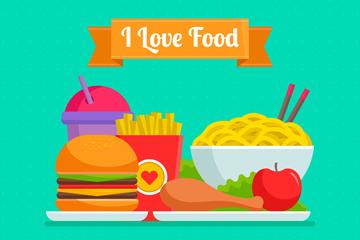 6款美味食物矢量素材