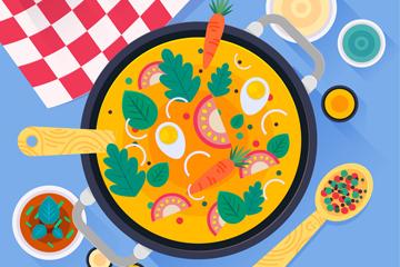 创意餐桌上的菜肴俯视图矢量素材