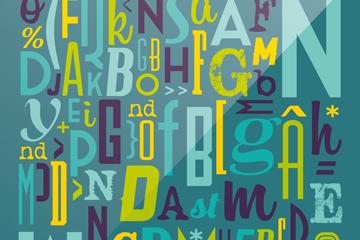 抽象字母符号无缝背景矢量素材
