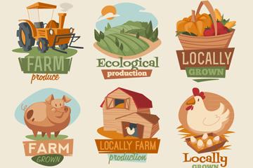 9款卡通农场品标签矢量图