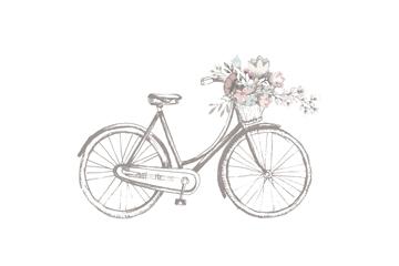 复古手绘装着鲜花的单车矢量素材