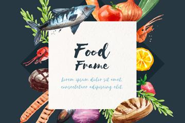 水彩绘食物框架设计矢量素材