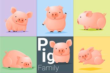 9款粉色卡通猪矢量素材