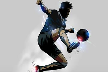 创意动感踢足球男子剪影矢量素材
