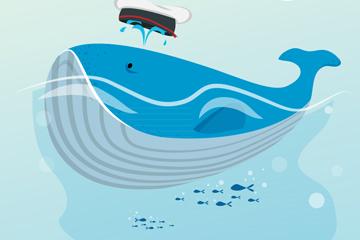 卡通浮在海面的鲸鱼矢量素材