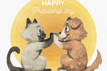 彩绘国际友谊日拍手的猫狗矢量图