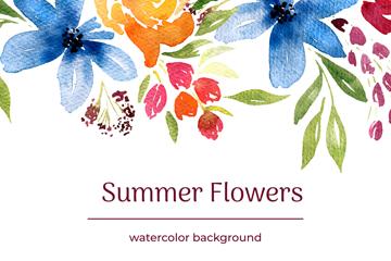水彩�L夏季花卉矢量素材