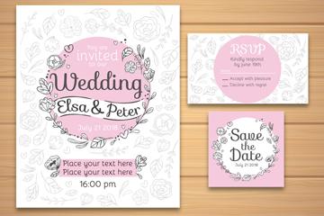 3款清新花纹婚礼卡片矢量素材