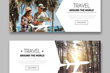 2款创意环球旅行banner设计矢量