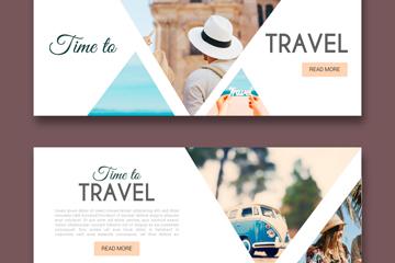 2款创意旅行人物banner设计矢量