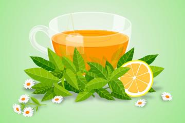 美味红茶和花卉矢量素材
